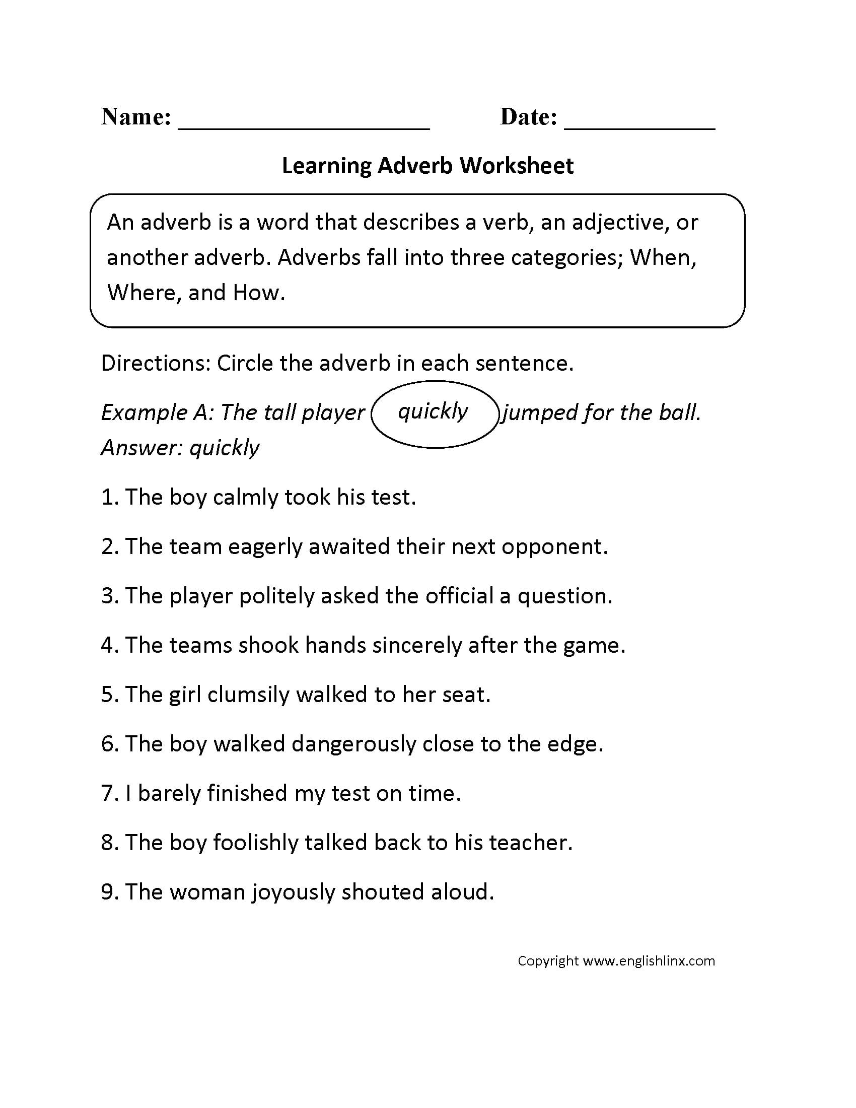 Adverb Practice Worksheets