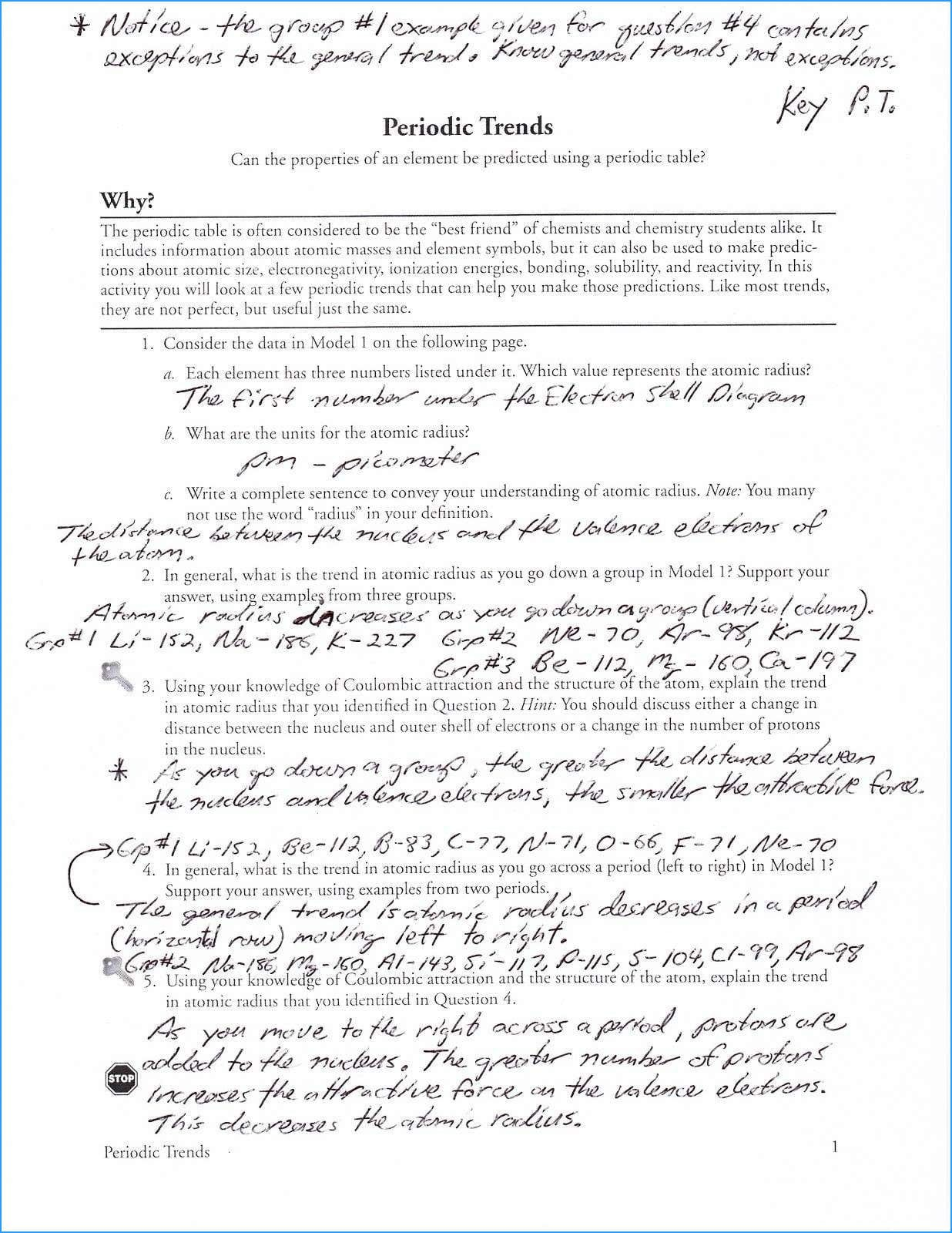 Periodic Table Riddles Unique Periodic Trends Worksheet