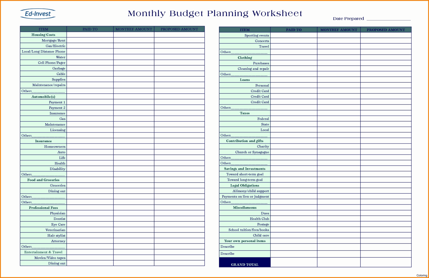 Personal Financial Planning Worksheets India Excel Sheet
