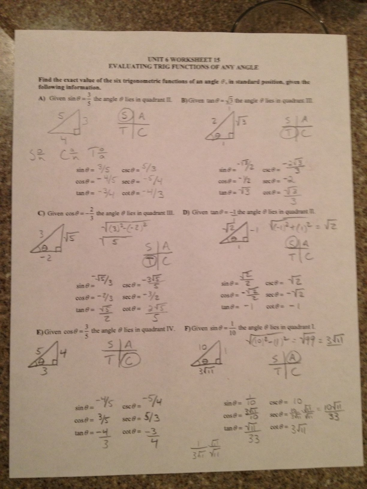 Pfeil Jason Trigonometry Daily Assignments And Resources