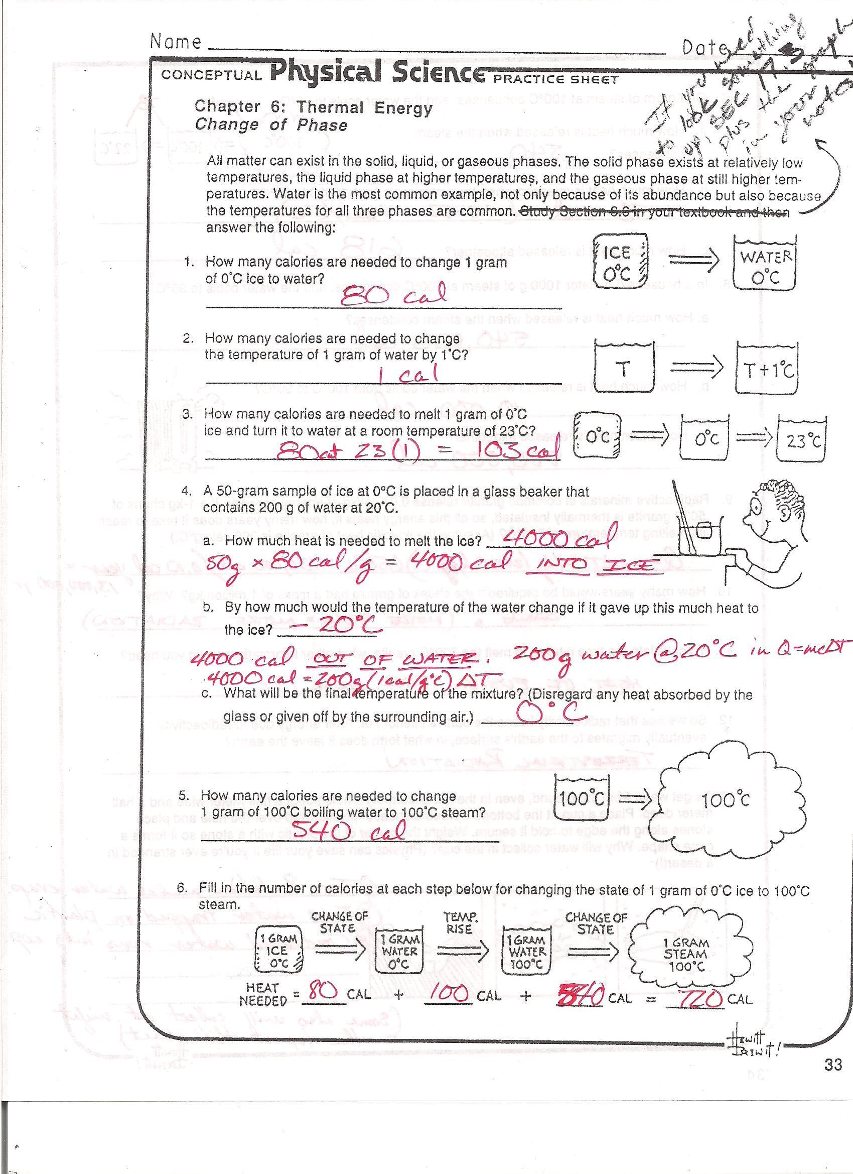 Phase Change Worksheet Answers Graphing Linear Equations