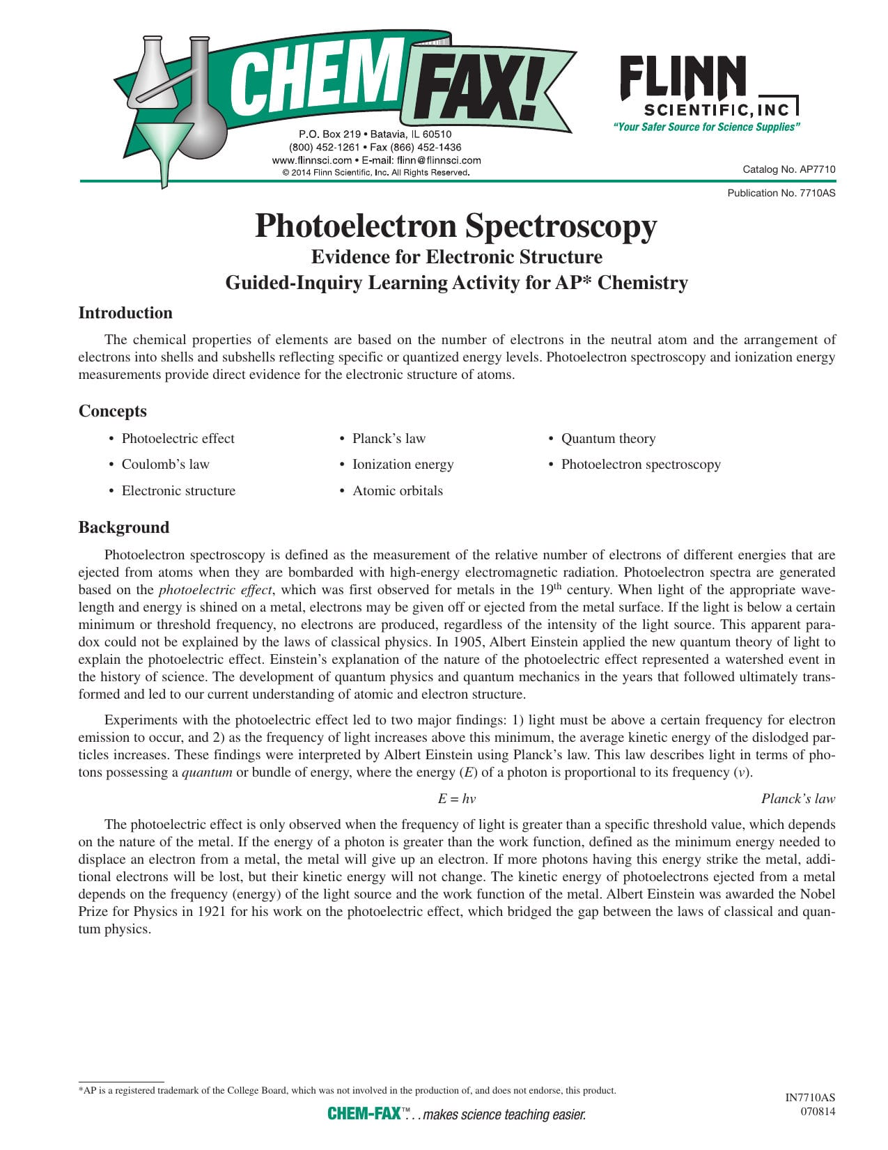 Photoelectron Spectroscopy Worksheet Answers