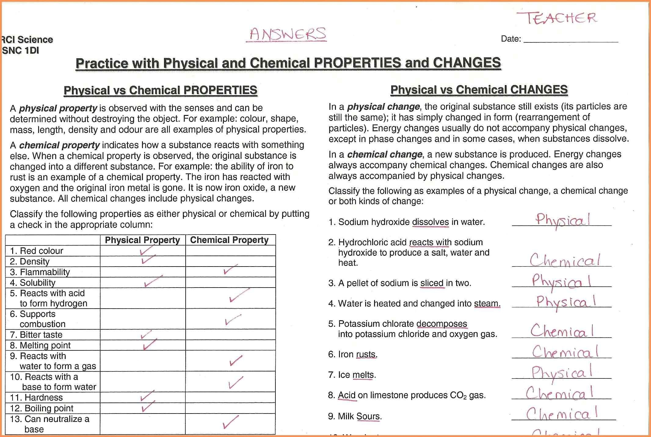 Physical And Chemical Properties Worksheet Physical