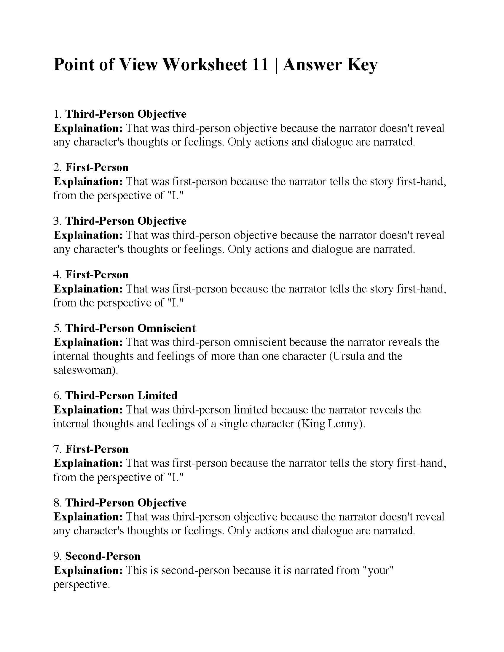 Point Of View Worksheet 11