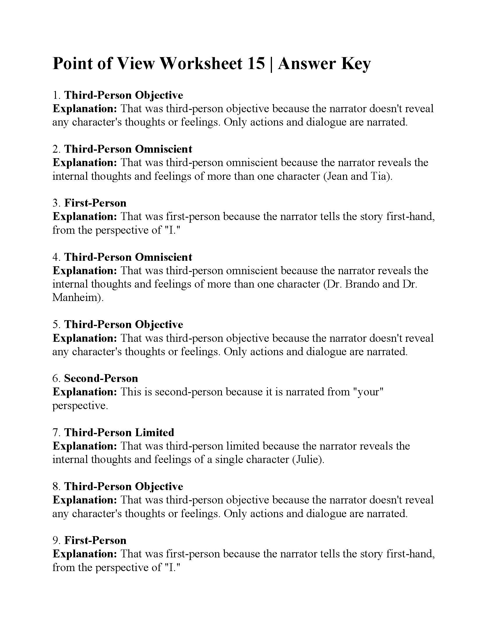 Point Of View Worksheet 15