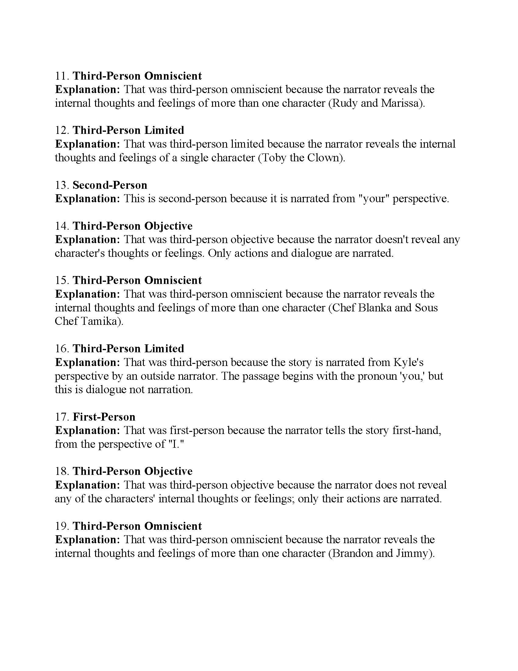 Point Of View Worksheet 7 Answers