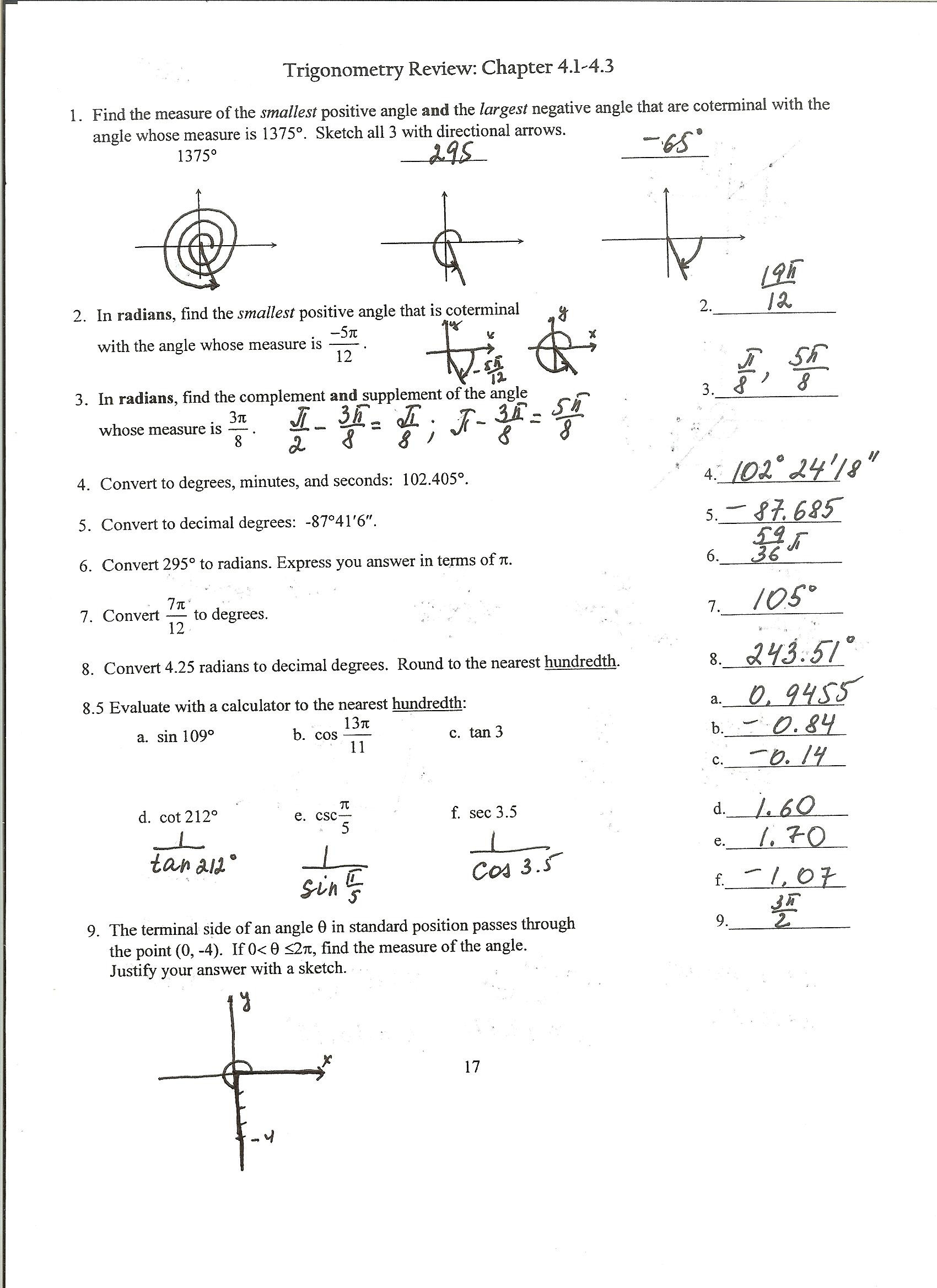 Precalculus Trig Day 2 Exact Values Worksheet Answers Pg1