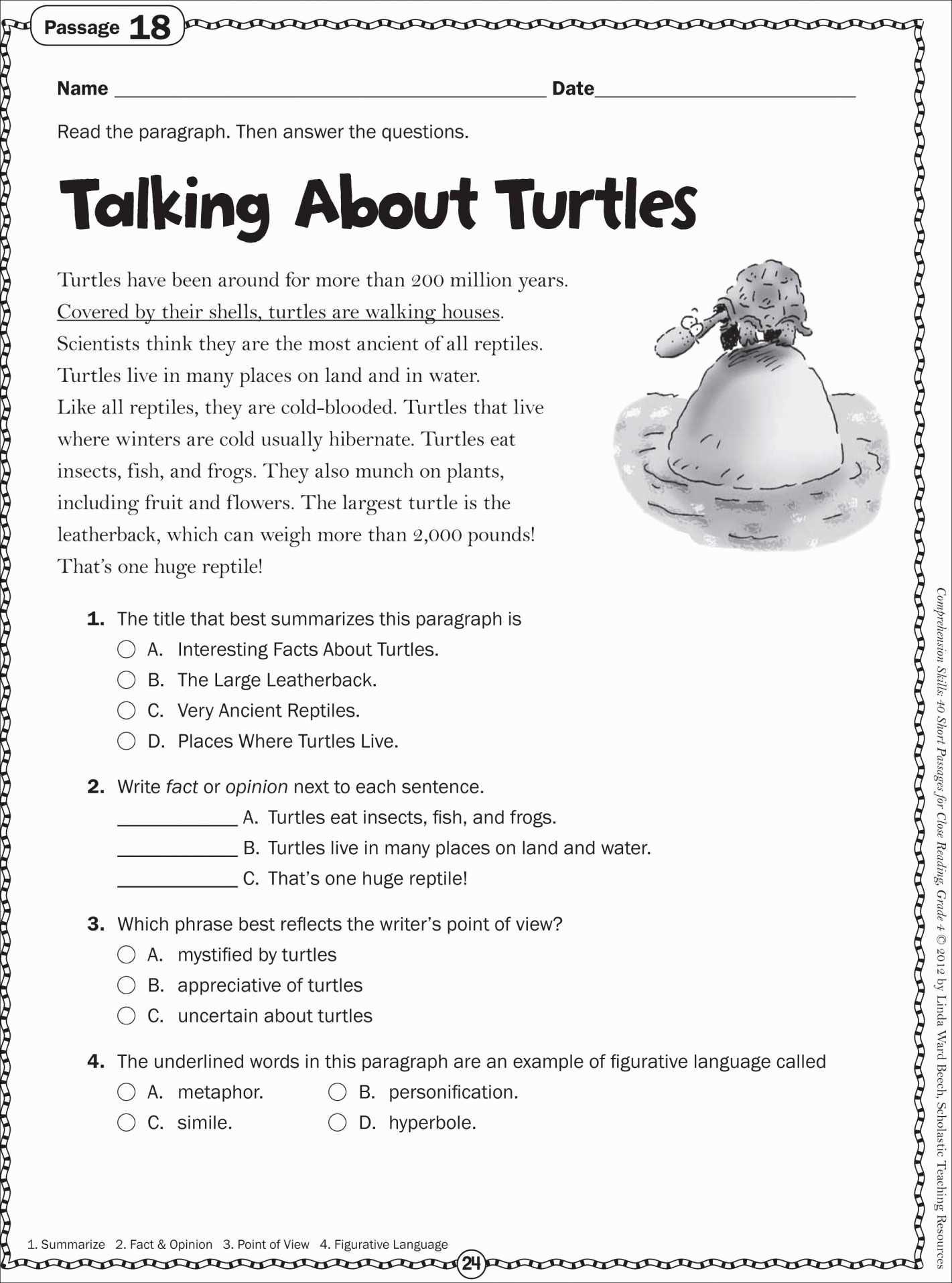 Printable Reading Comprehension Worksheets 10th Grade
