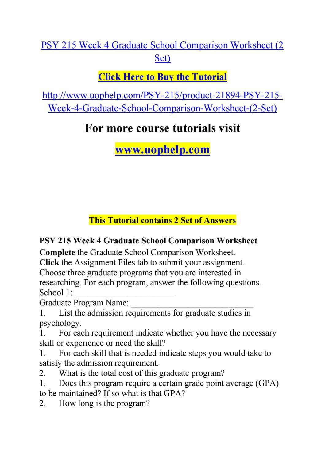 Graduate School Comparison Worksheet