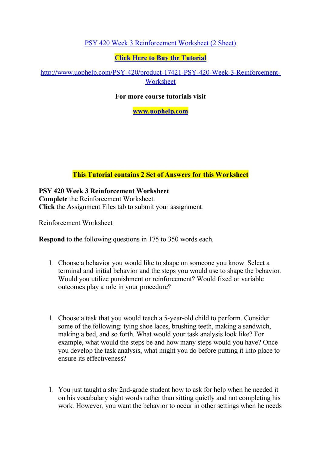 Psy 420 Week 3 Reinforcement Worksheet 2 Sheet