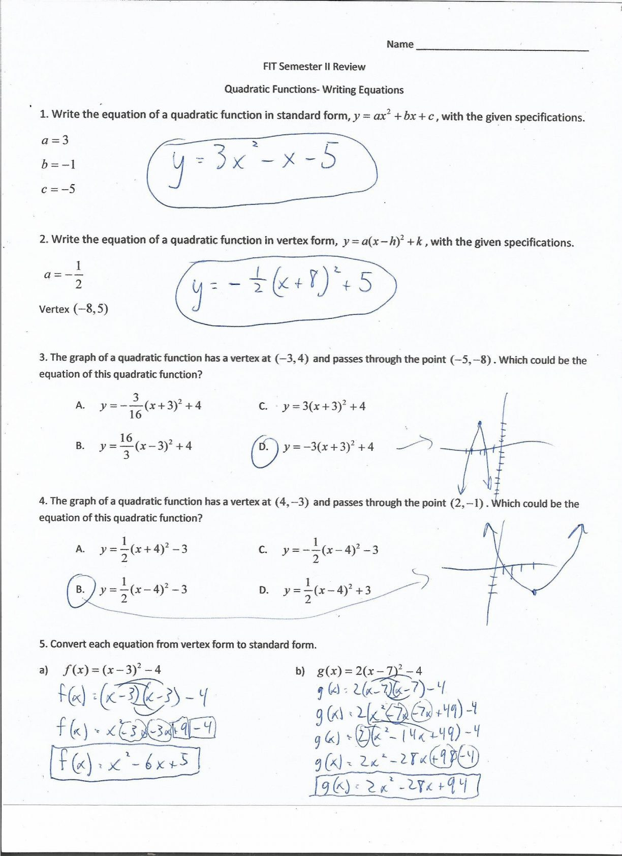 Quadratic Function Quiz Answer Key