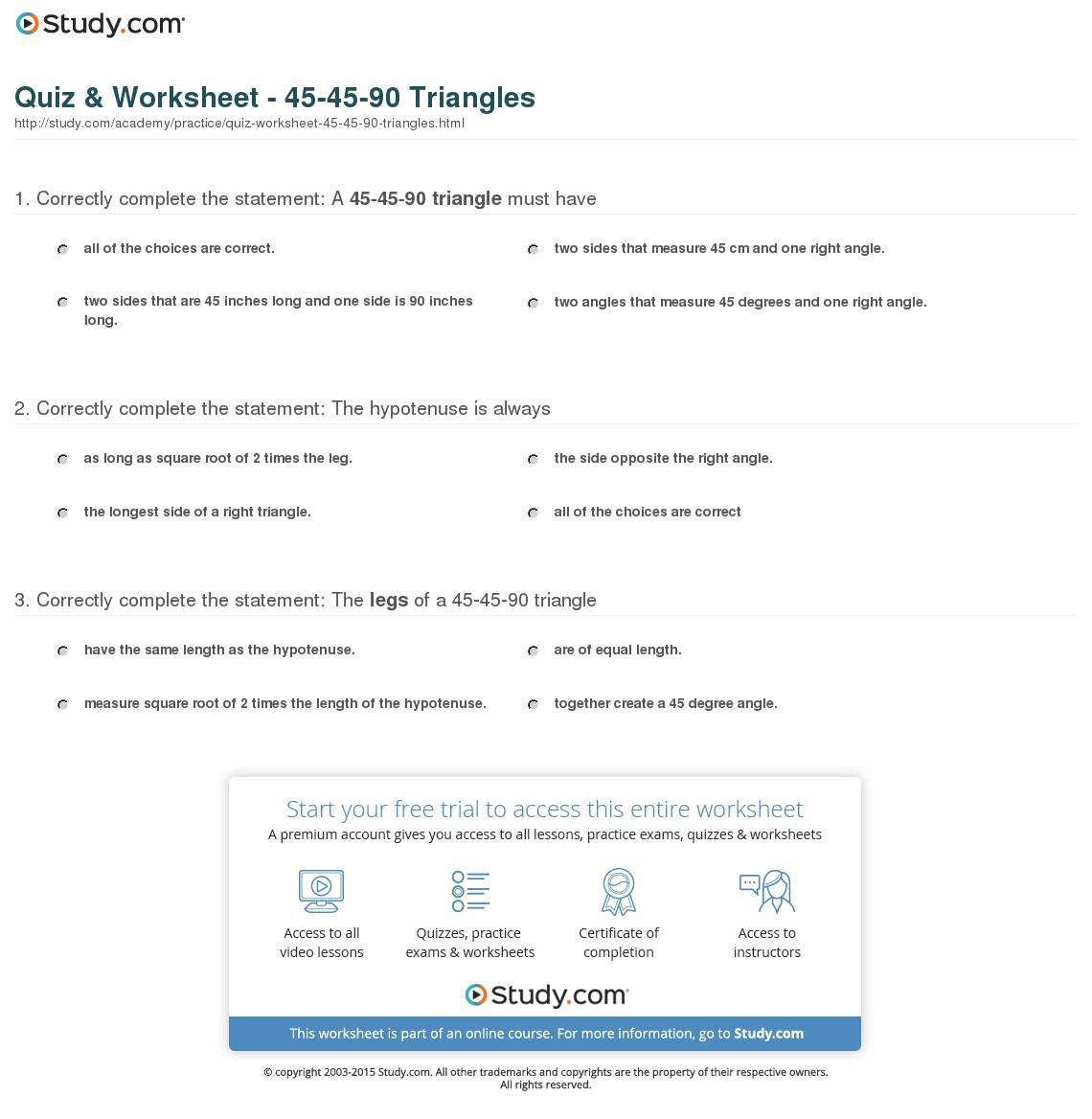Quiz Worksheet Triangles Study
