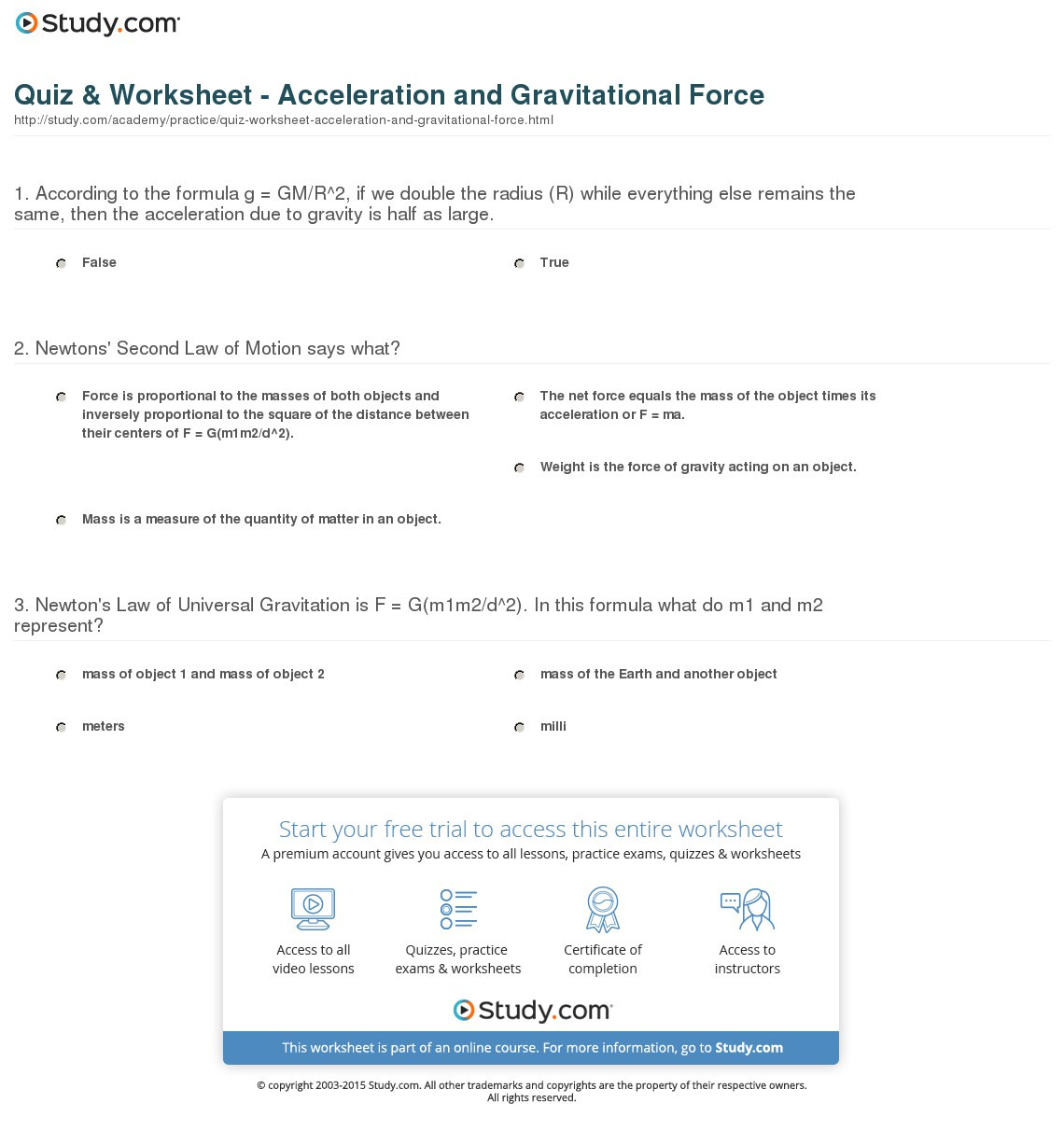 Quiz Worksheet Acceleration And Gravitational Force