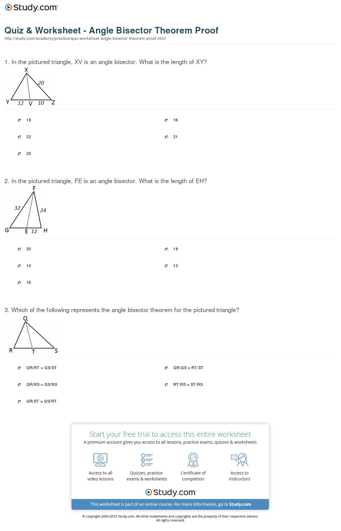Quiz Worksheet Angle Bisector Theorem Proof Study