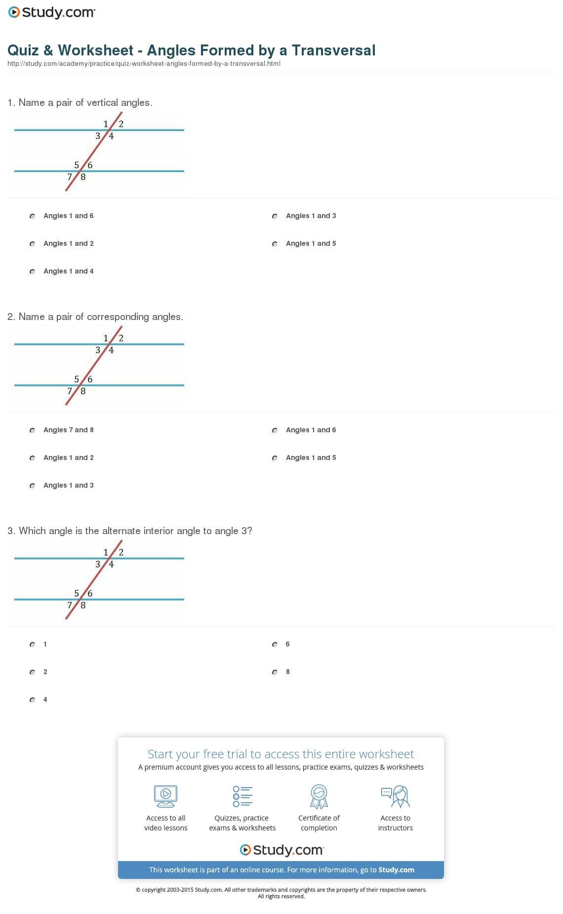 Quiz Worksheet Angles Formeda Transversal Study