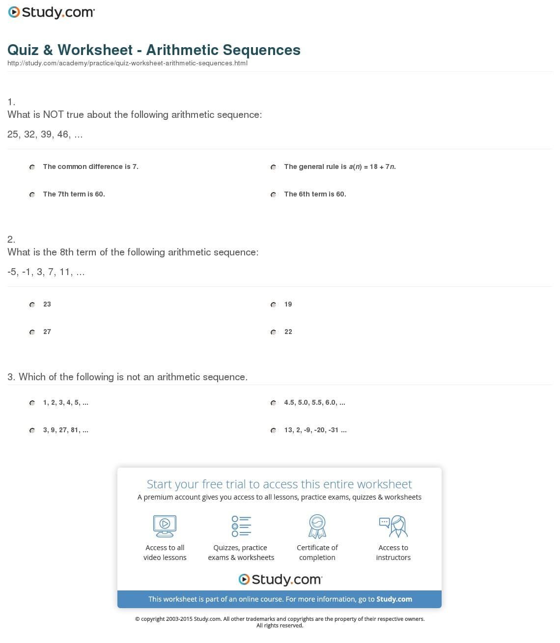 Arithmetic Sequence Worksheet With Answers Db Excel