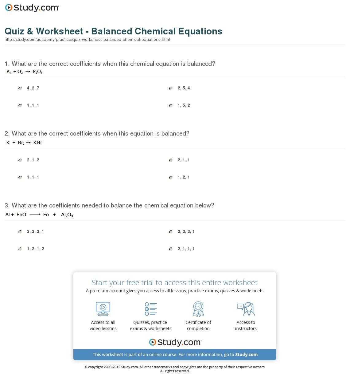 Quiz Worksheet Balanced Chemical Equations Study