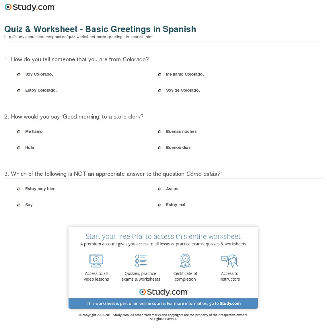 Spanish Greetings Worksheet