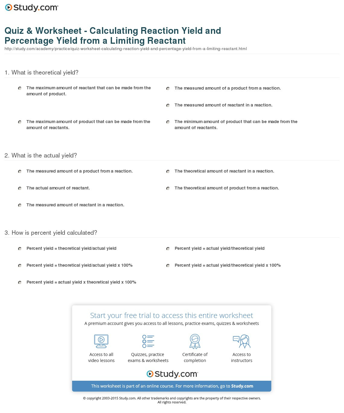 Quiz Worksheet Calculating Reaction Yield And Percentage