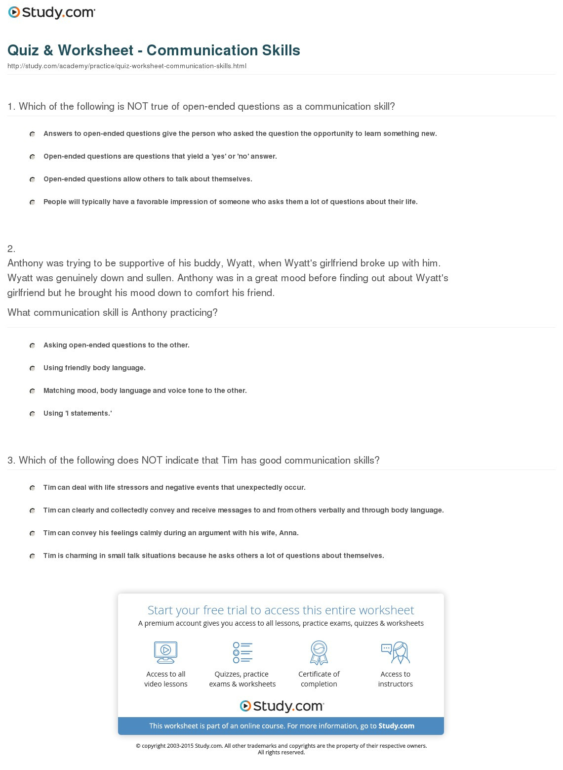 Communication Skills Worksheets