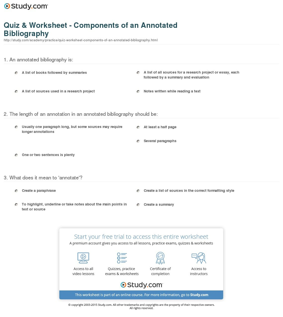 Quiz Worksheet Components Of An Annotated Bibliography