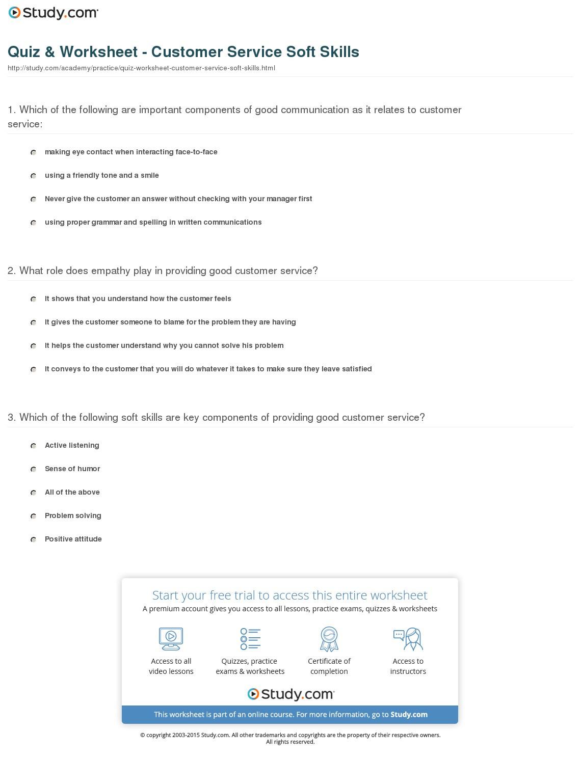 Quiz Worksheet Customer Service Soft Skills Study