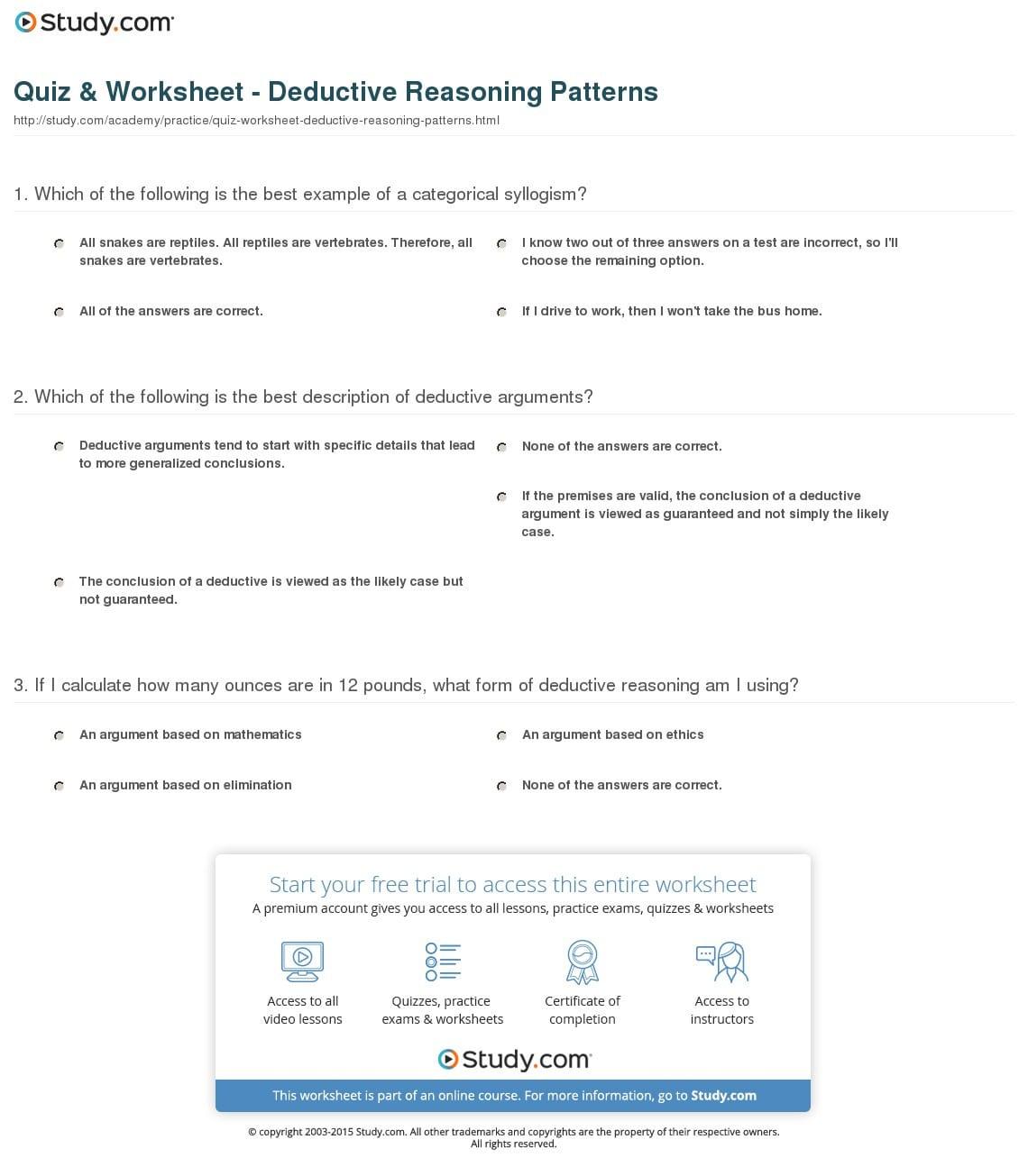 Inductive And Deductive Reasoning Worksheet