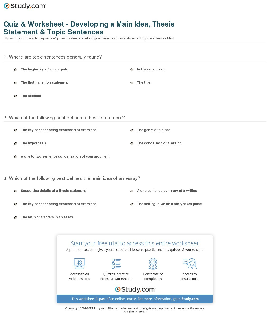 Quiz Worksheet Developing A Main Idea Thesis Statement