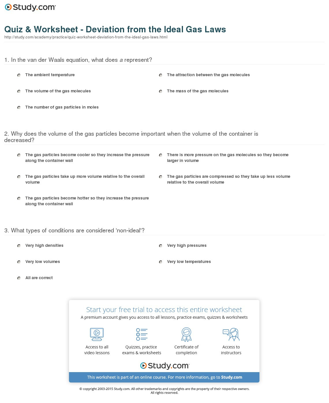 Quiz Worksheet Deviation From The Ideal Gas Laws Study