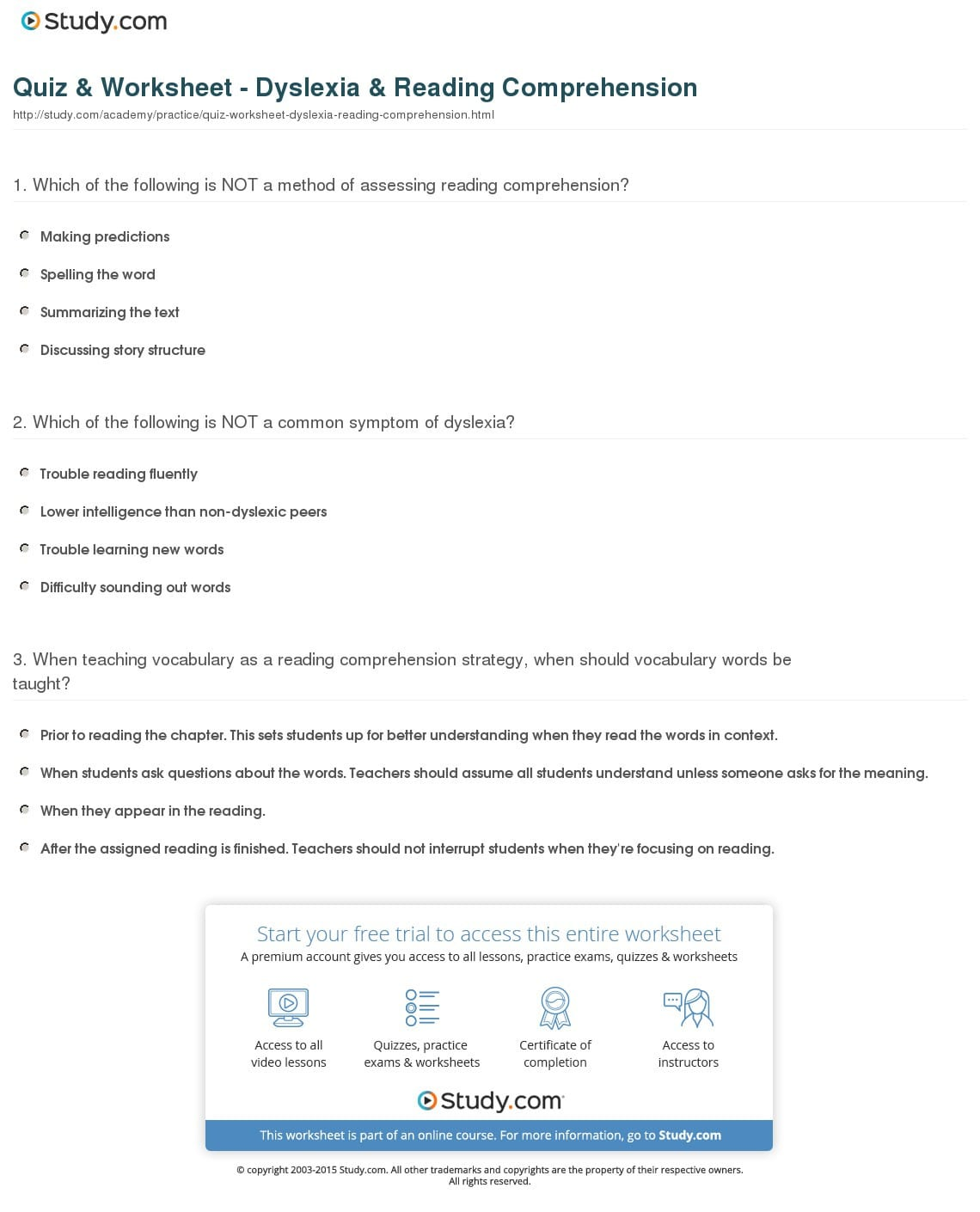 Quiz Worksheet Dyslexia Reading Comprehension Study