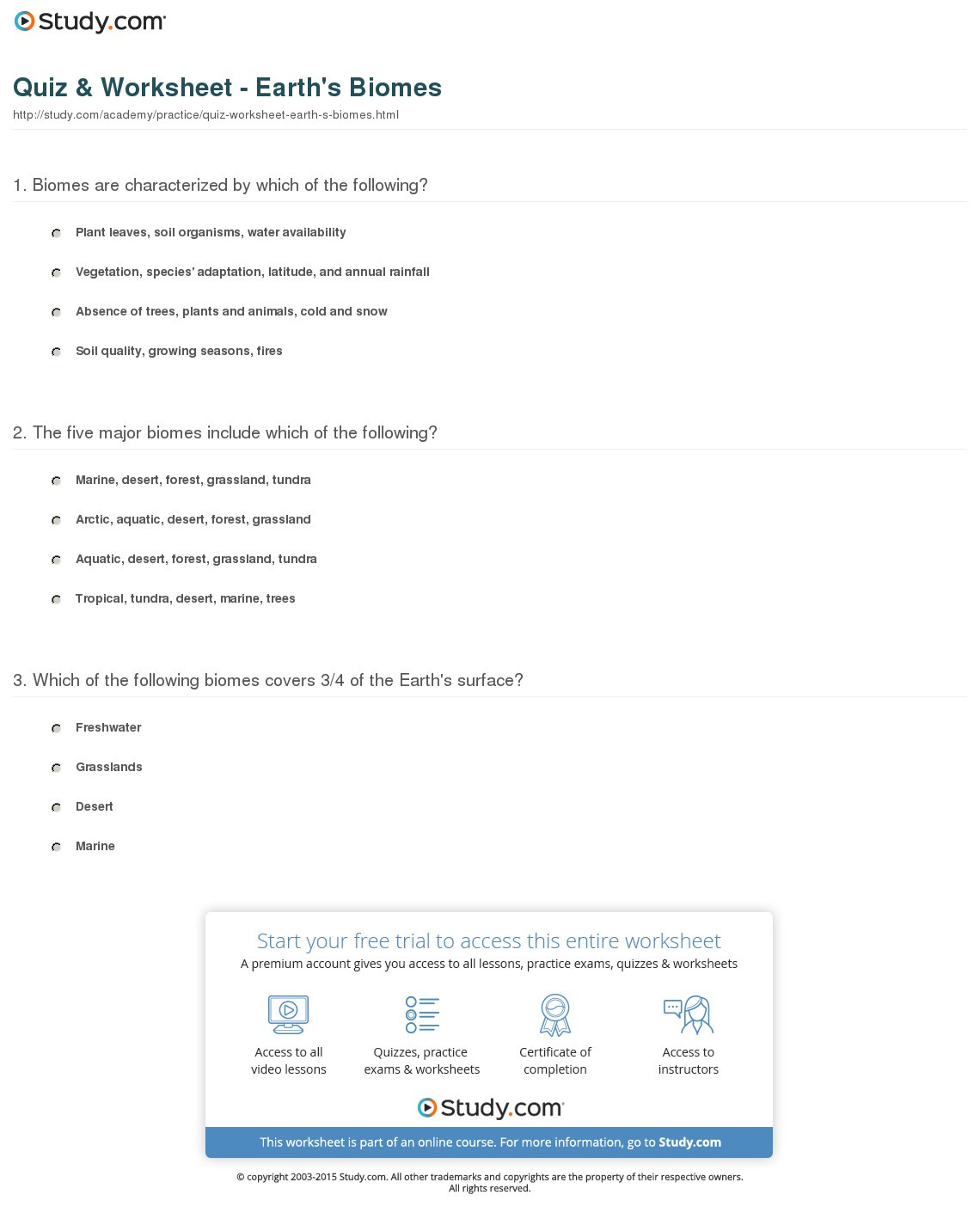 Quiz Worksheet Earth S Biomes Study