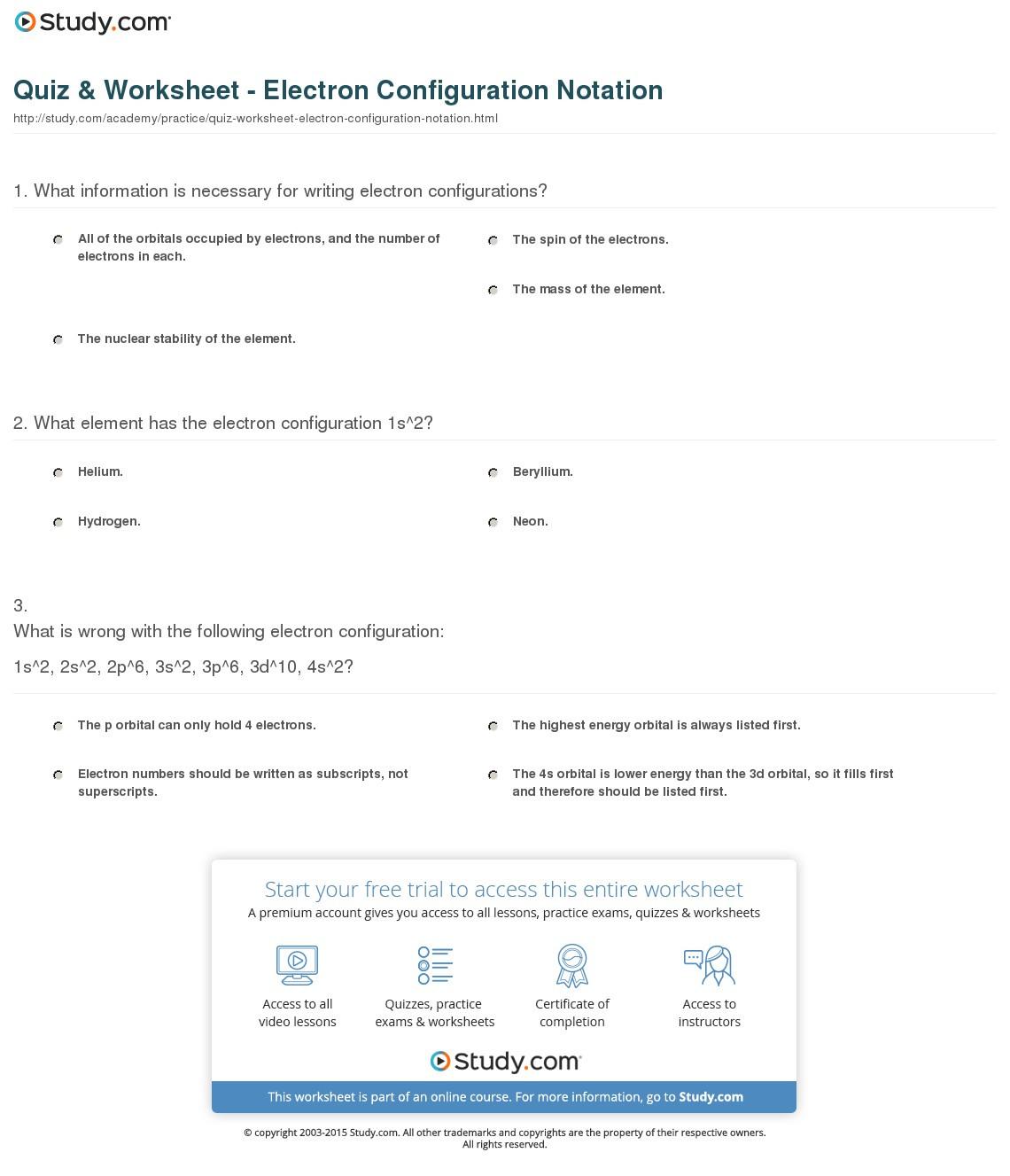Quiz Worksheet Electron Configuration Notation Study