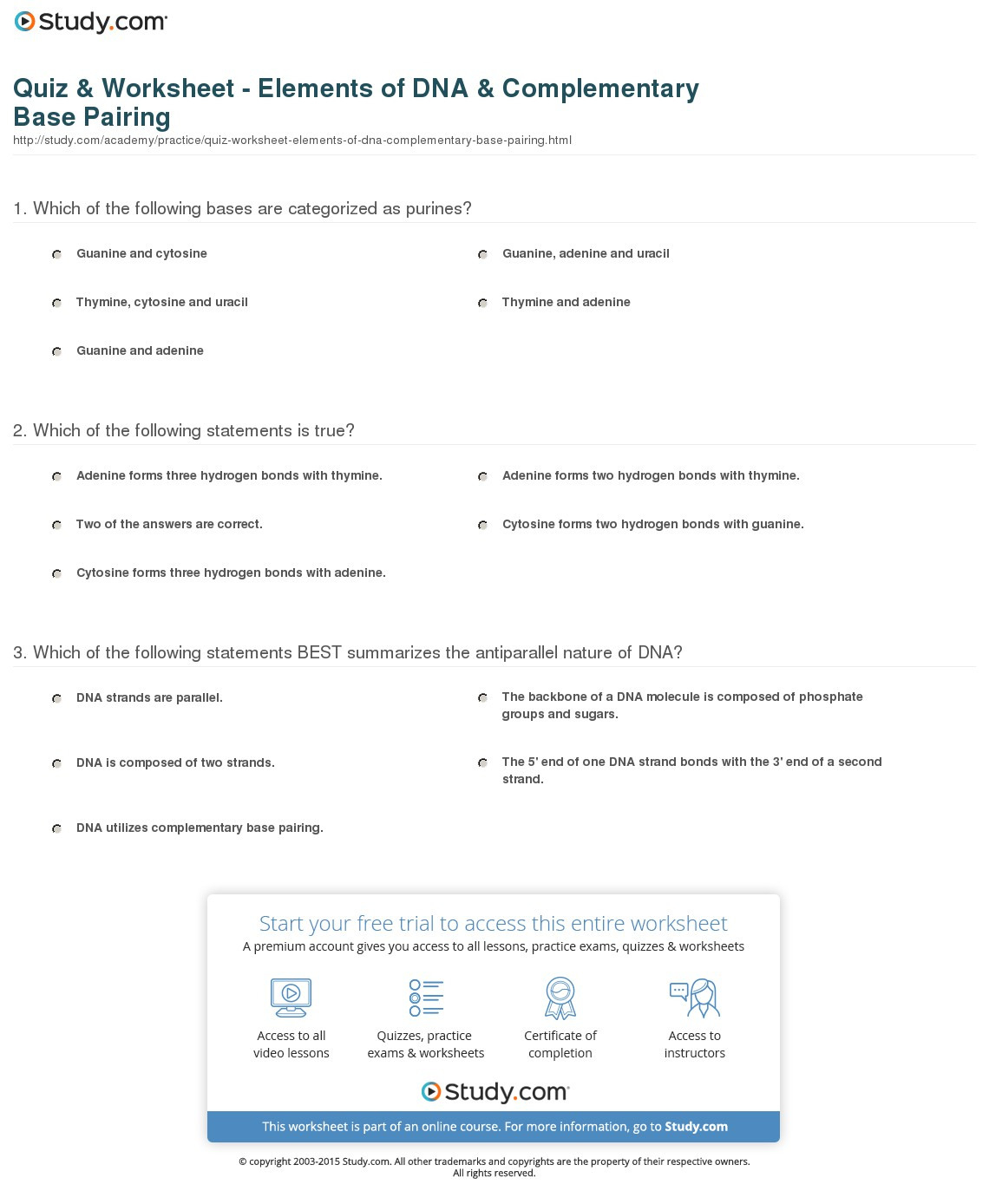 Quiz Worksheet Elements Of Dna Complementary Base