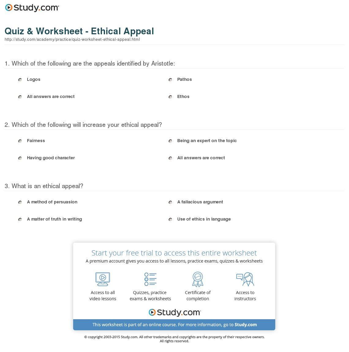 Quiz Worksheet Ethical Appeal Study
