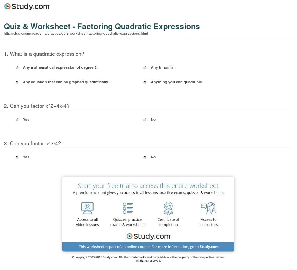 Quiz Worksheet Factoring Quadratic Expressions Study