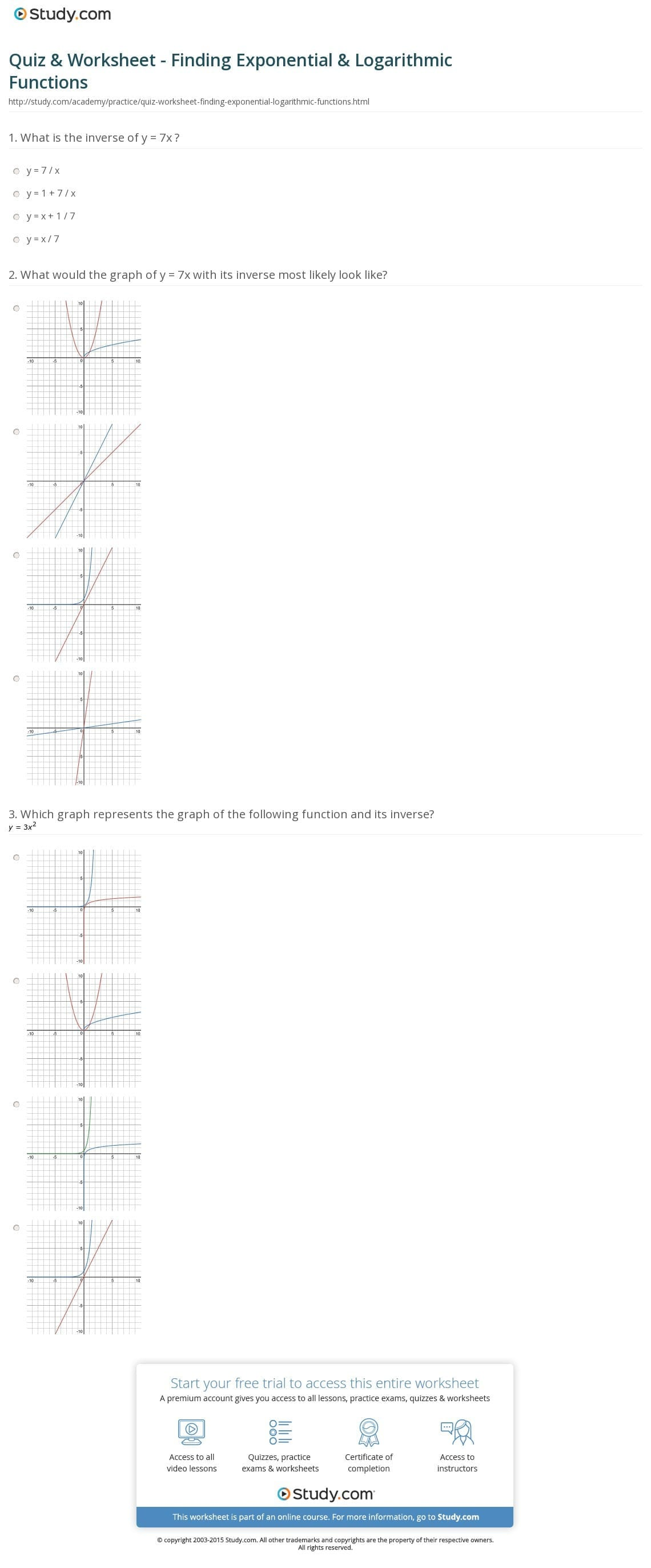 Quiz Worksheet Finding Exponential Logarithmic