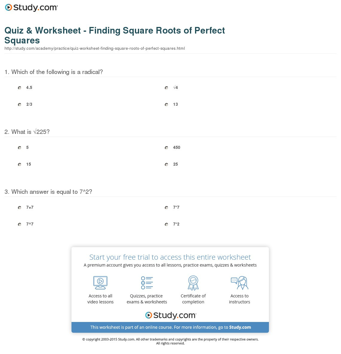 Quiz Worksheet Finding Square Roots Of Perfect Squares