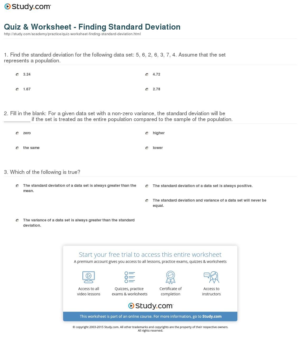 Quiz Worksheet Finding Standard Deviation Study