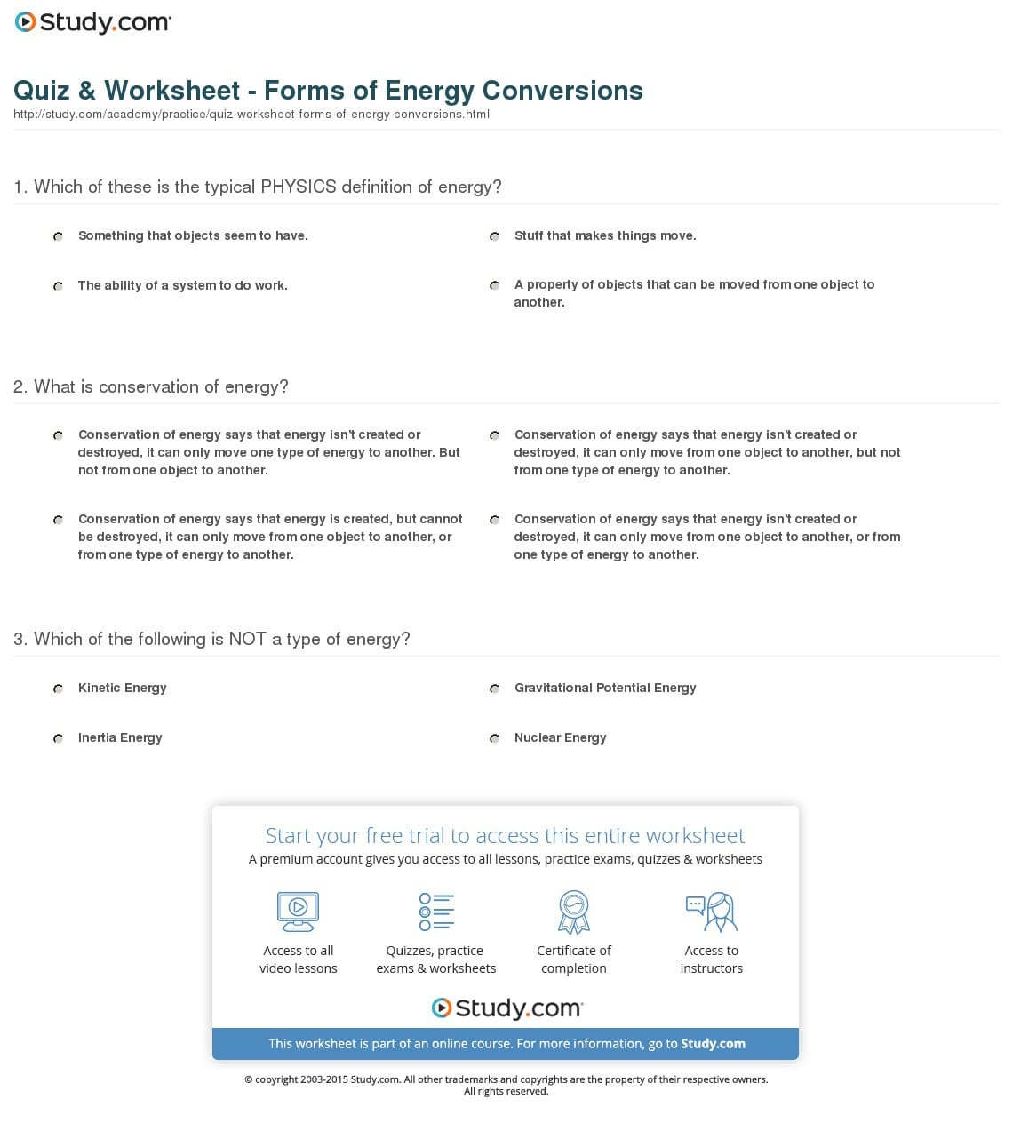 Energy Conversion Worksheet