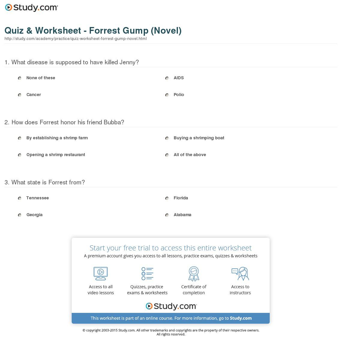 Quiz Worksheet Forrest Gump Novel Study