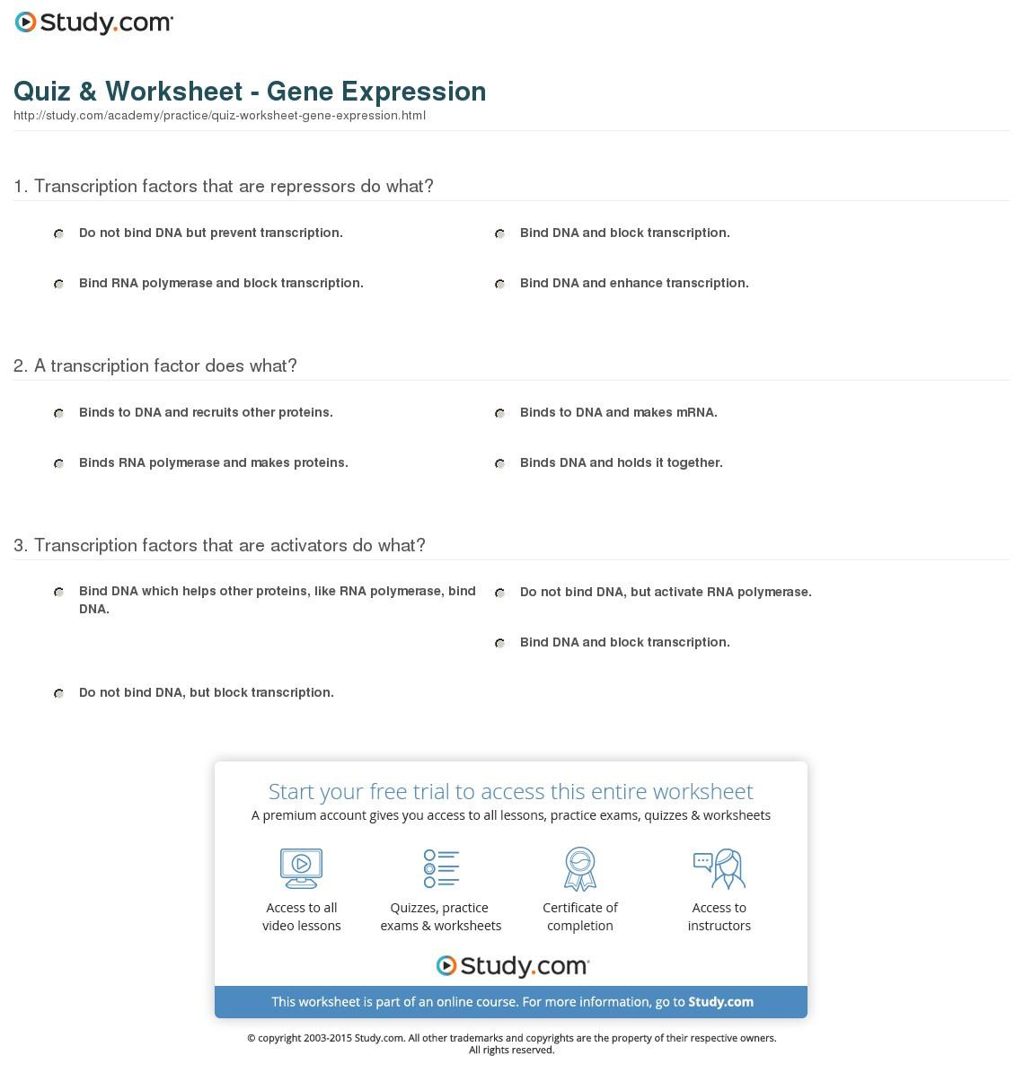 Quiz Worksheet Gene Expression Study