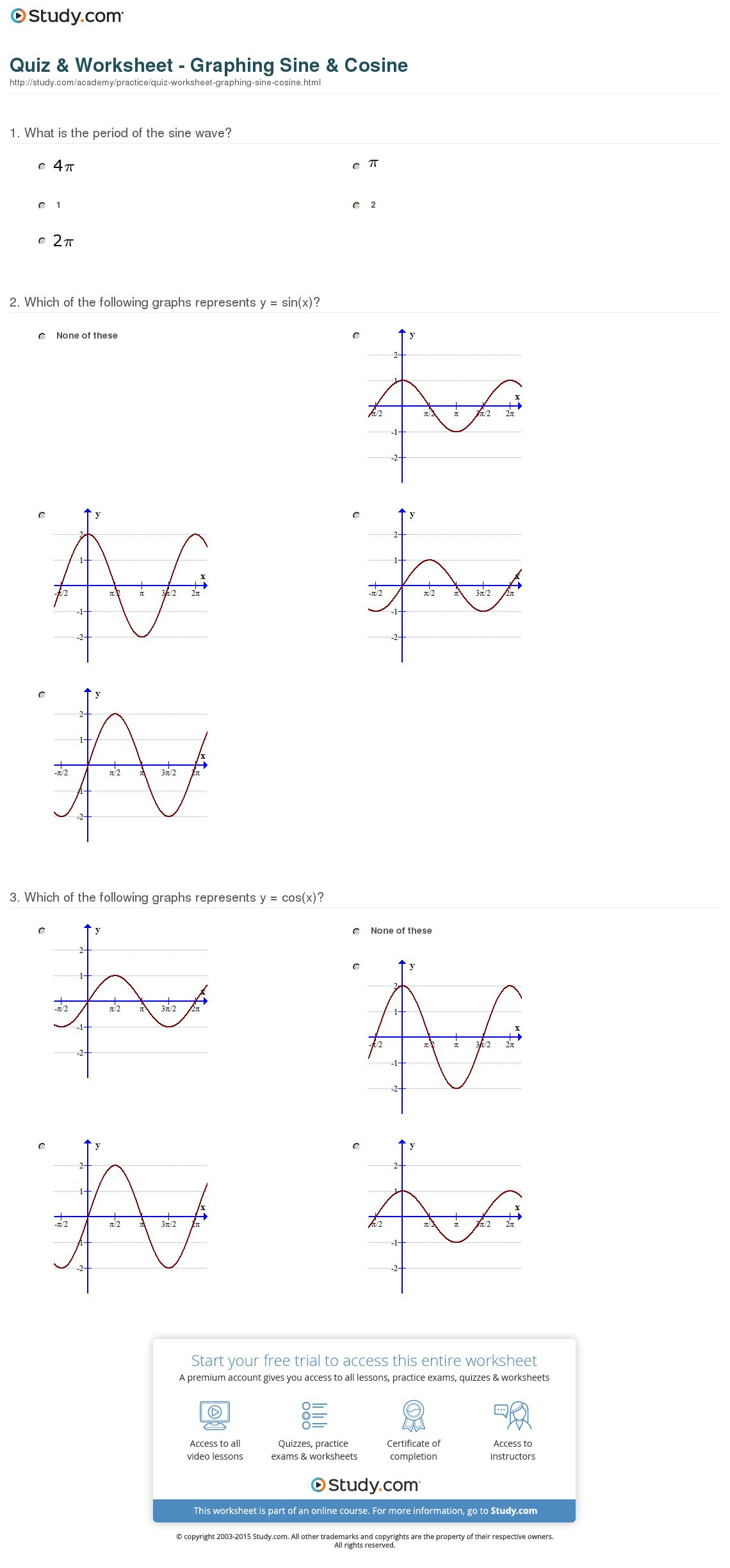 Graphing Sine And Cosine Practice Worksheet