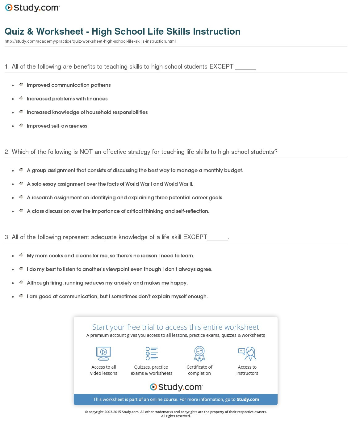 Life Skills For High School Students Worksheets