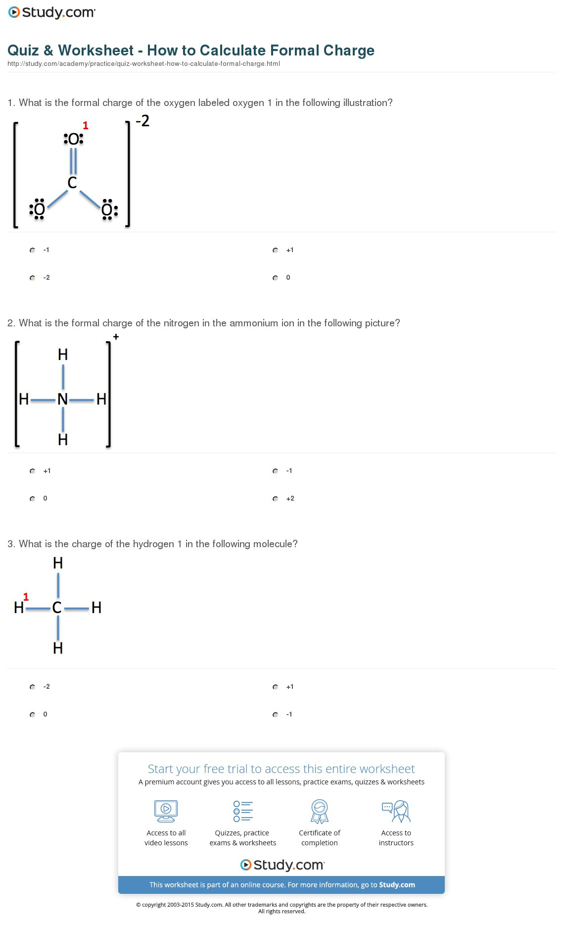 Quiz Worksheet How To Calculate Formal Charge Study