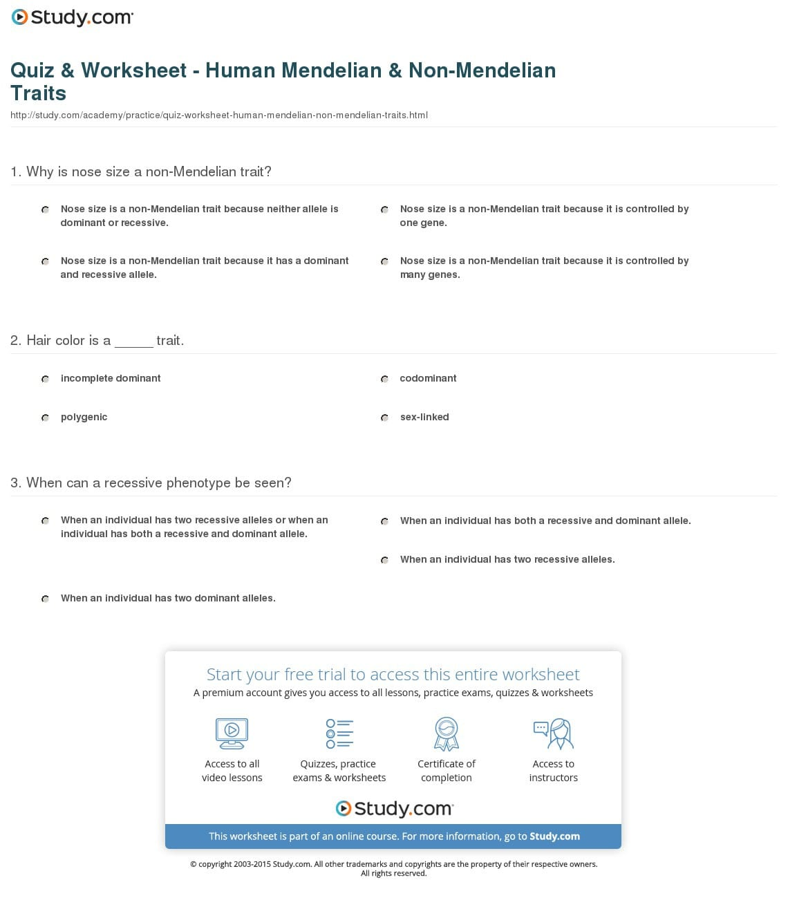 Quiz Worksheet Human Mendelian Nonmendelian Traits