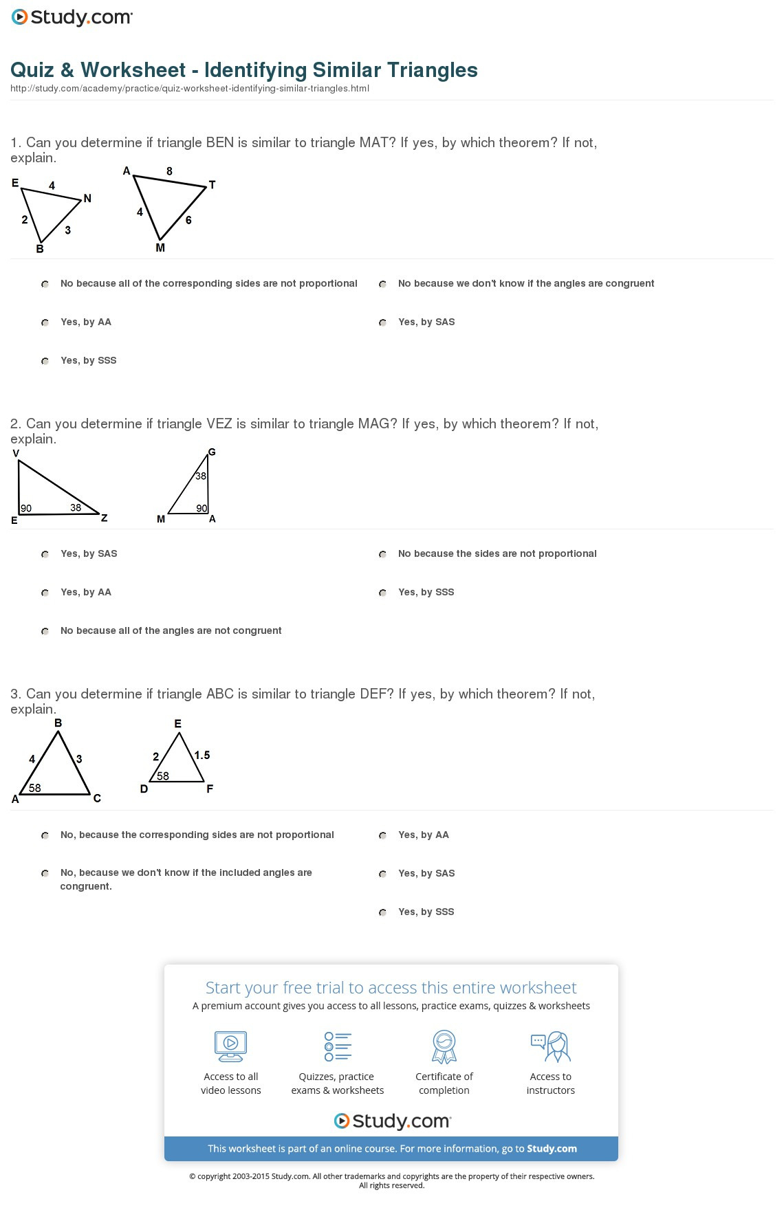 Similar And Congruent Figures Worksheet