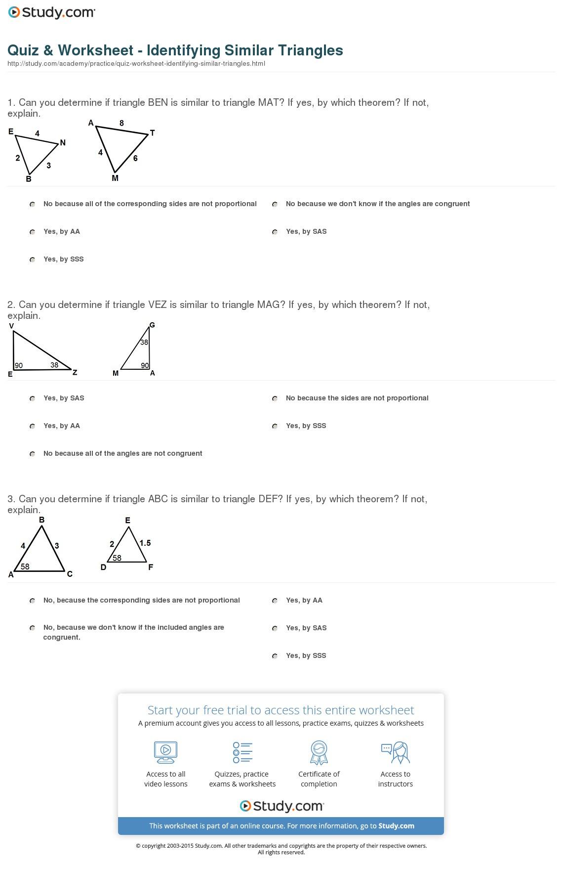 Quiz Worksheet Identifying Similar Triangles Study