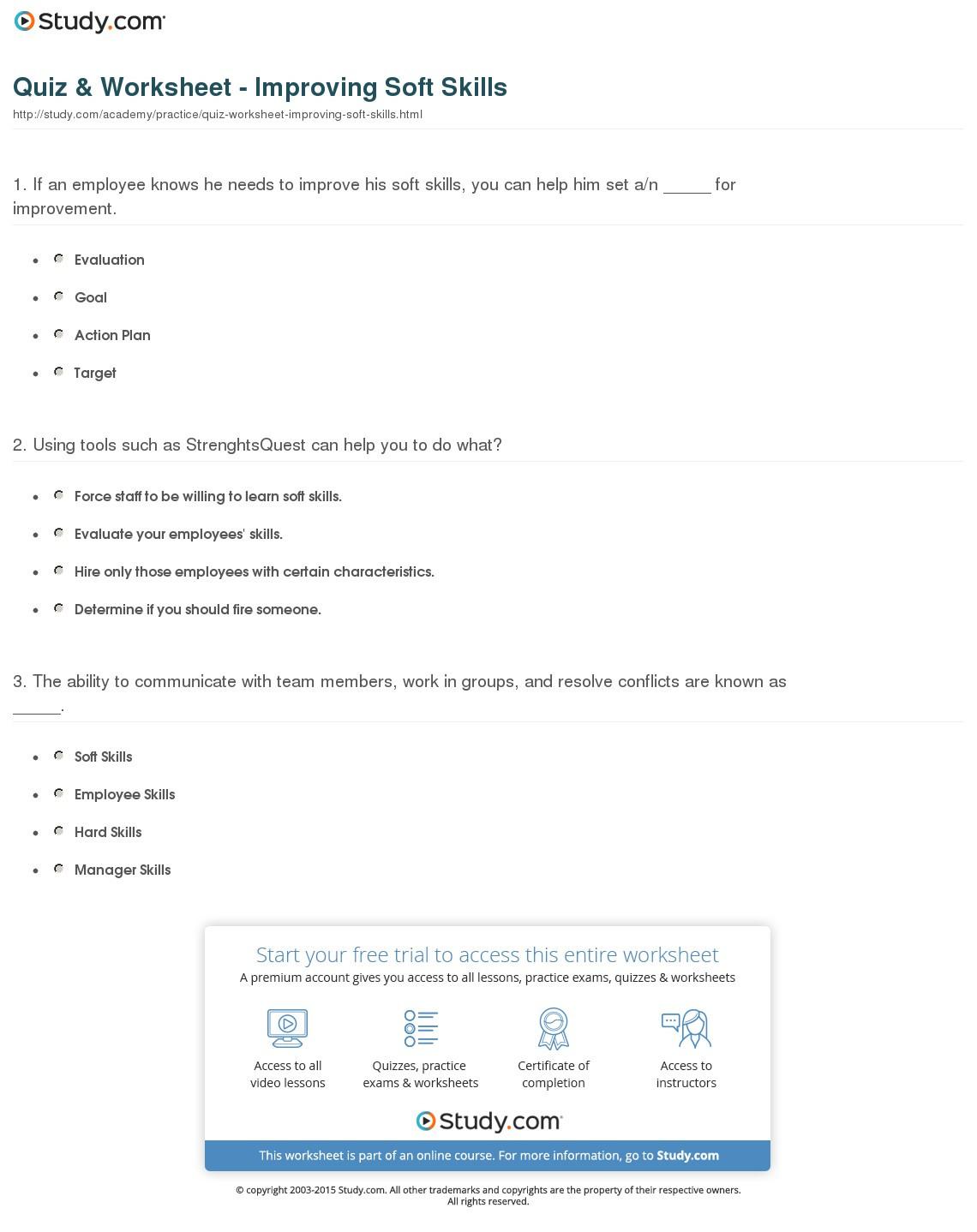 Quiz Worksheet Improving Soft Skills Study