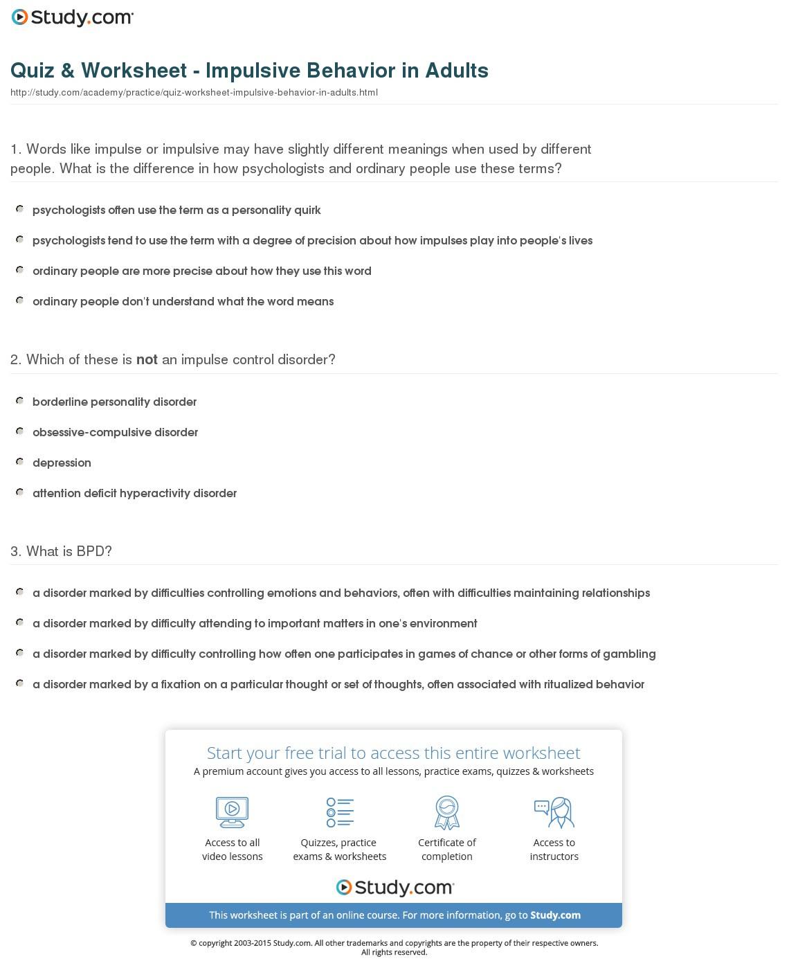 Quiz Worksheet Impulsive Behavior In Adults Study