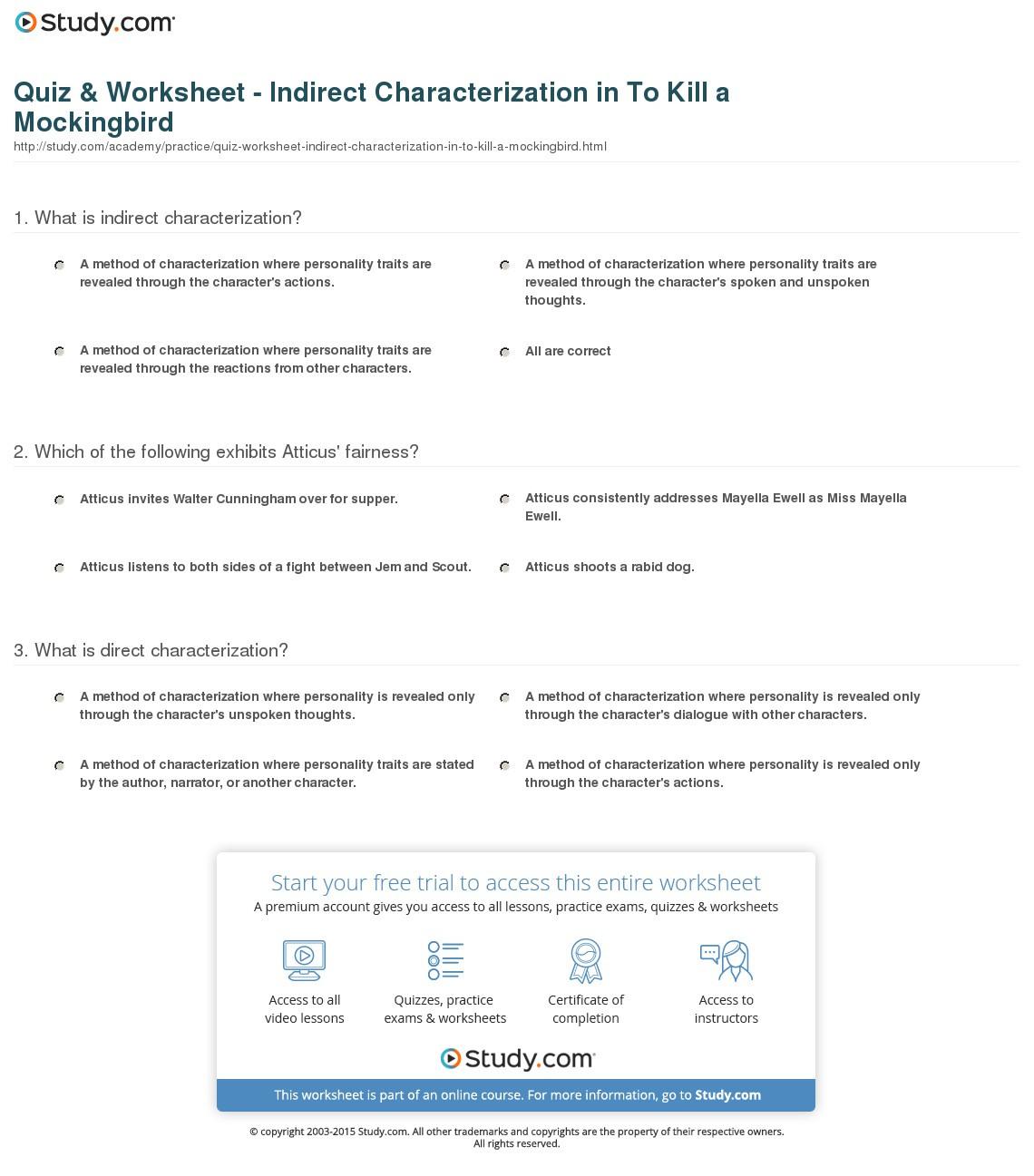 To Kill A Mockingbird Character Worksheet